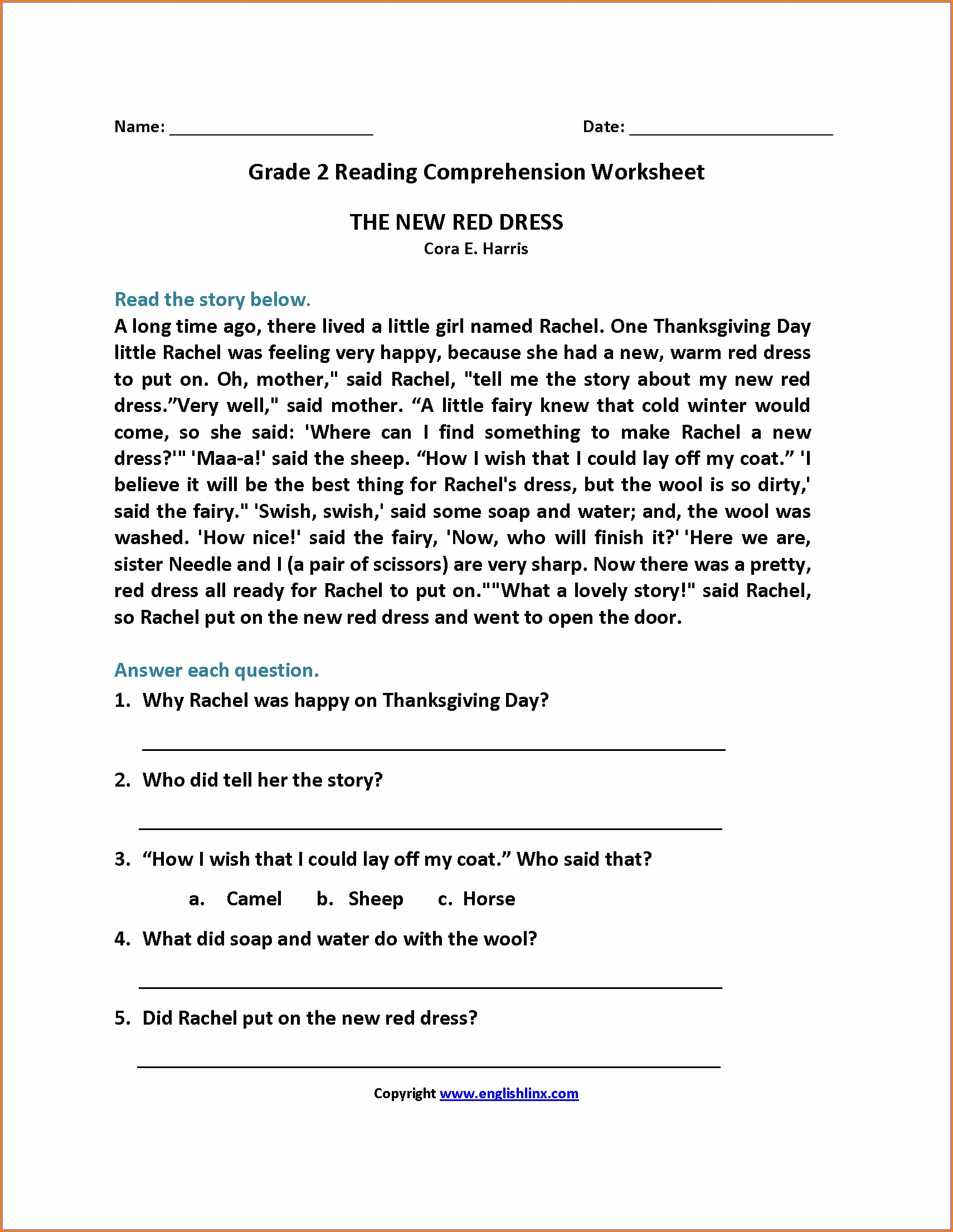 Free Printable Reading Comprehension Worksheet For Grade 2