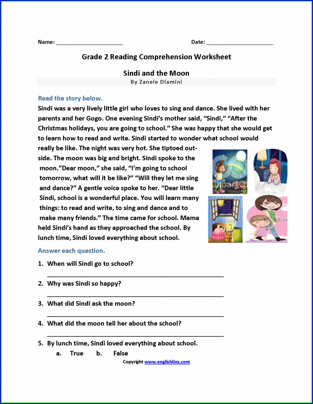 Free Printable Reading Comprehension Worksheets Grade 1