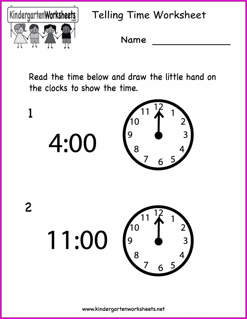 Free Printable Telling Time Activities For Kindergarten