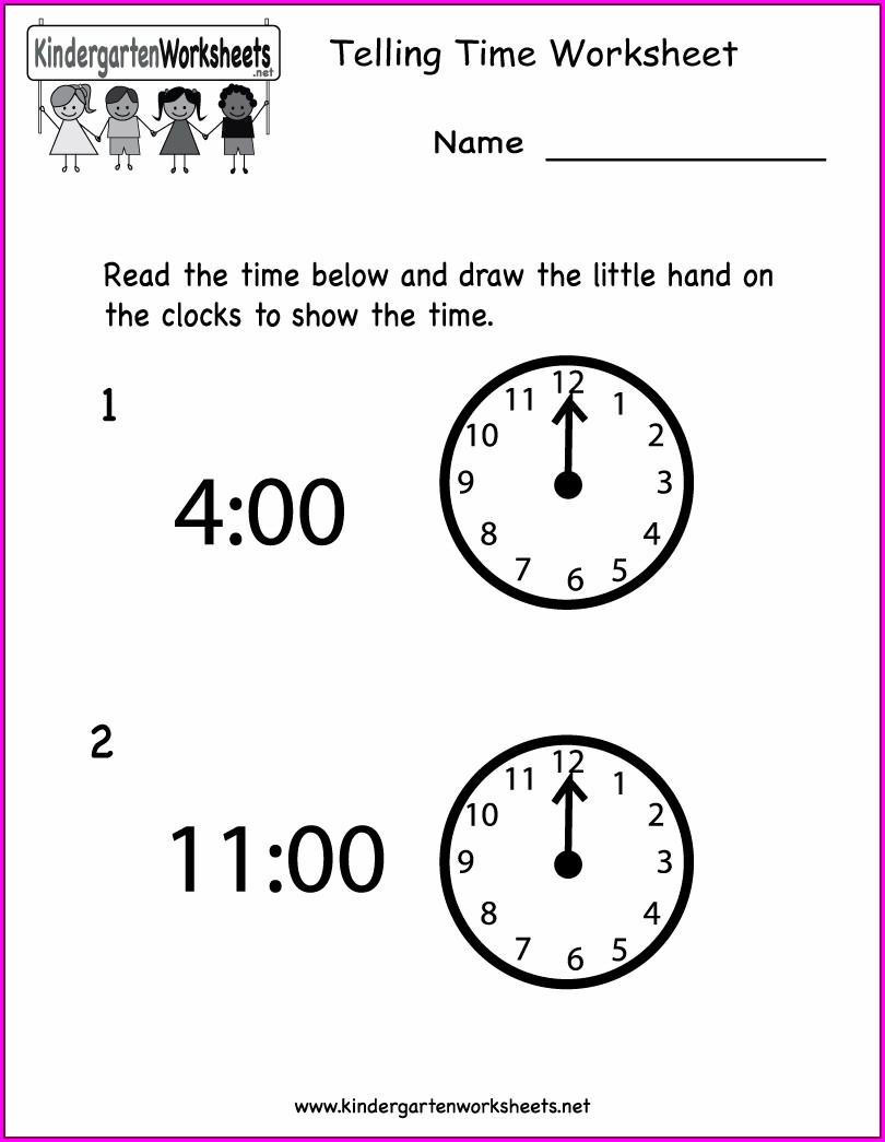 Free Printable Telling Time Activities For Kindergarten