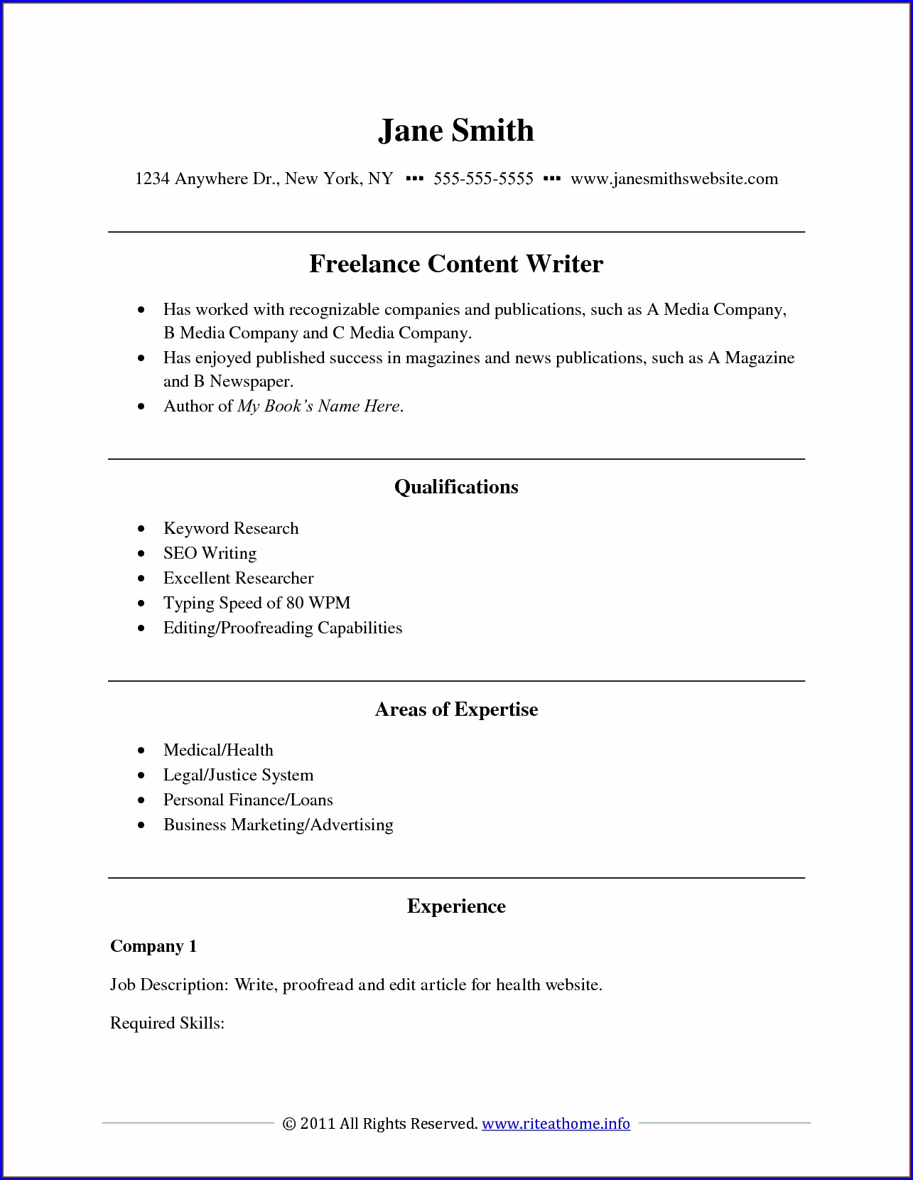 Free Professional Resume Writing Samples