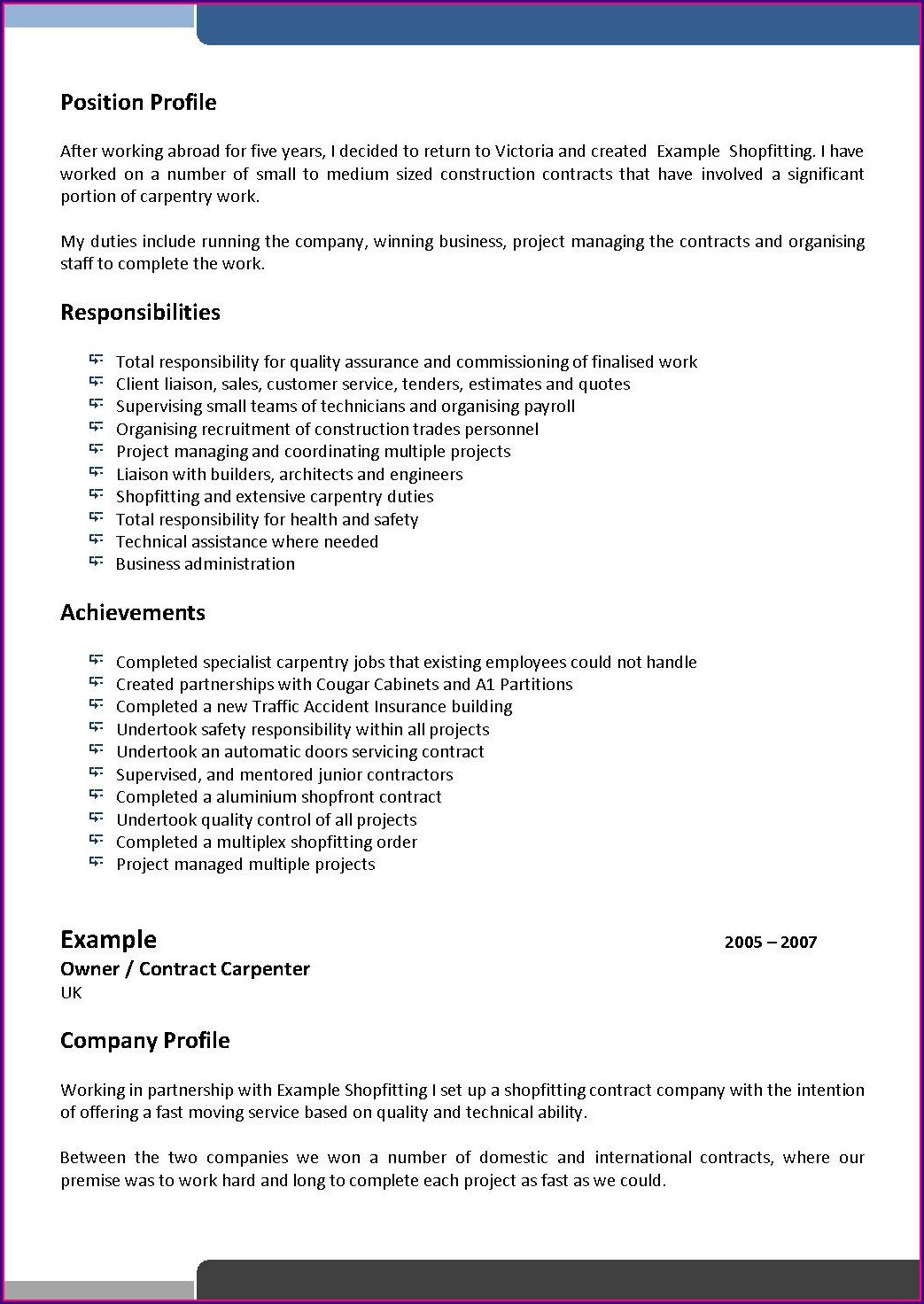 Free Resume Samples Download For Freshers