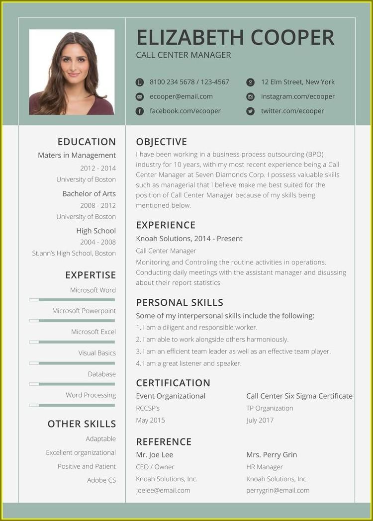 Free Resume Template Australia 2015