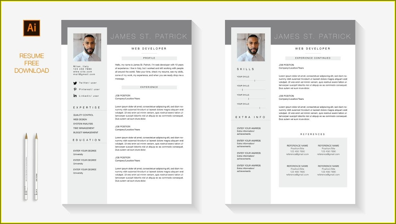 Free Resume Template Download Pages