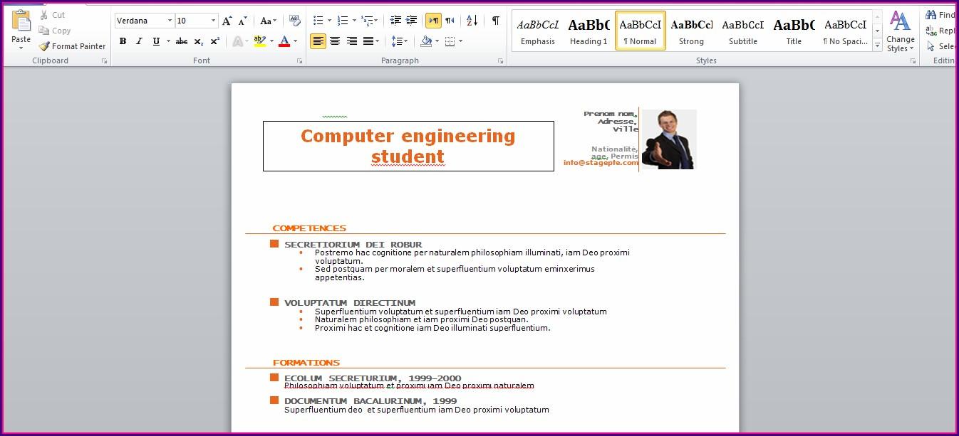 Free Resume Template Microsoft Word 2015