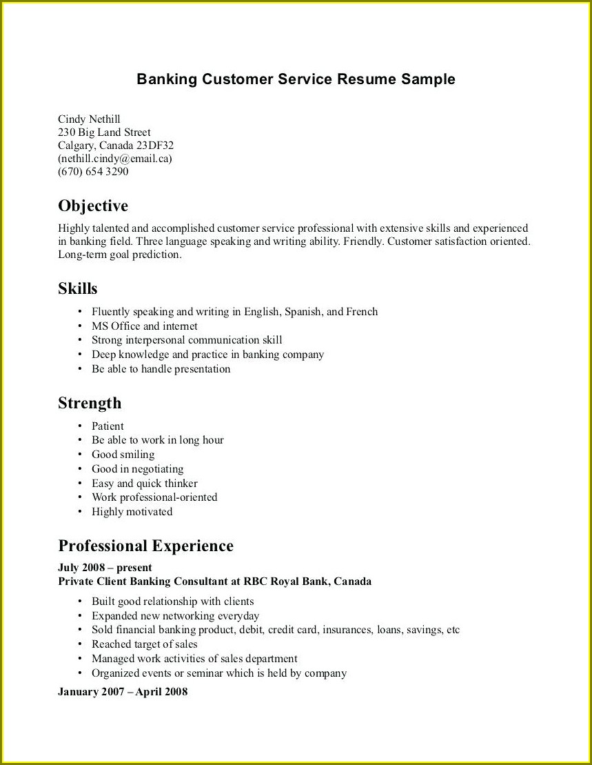 Free Resume Templates Customer Service Representative