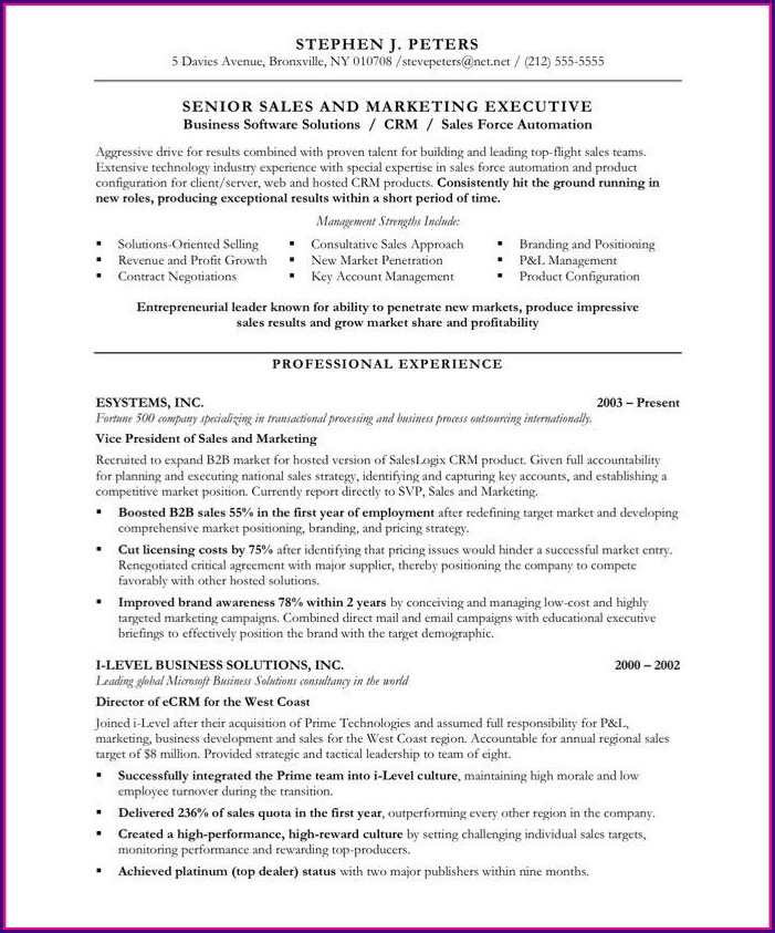 Free Resume Templates For Sales And Marketing