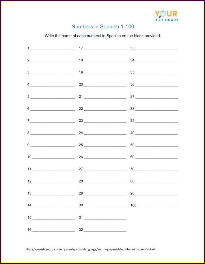 Free Spanish Numbers Worksheet 1 100