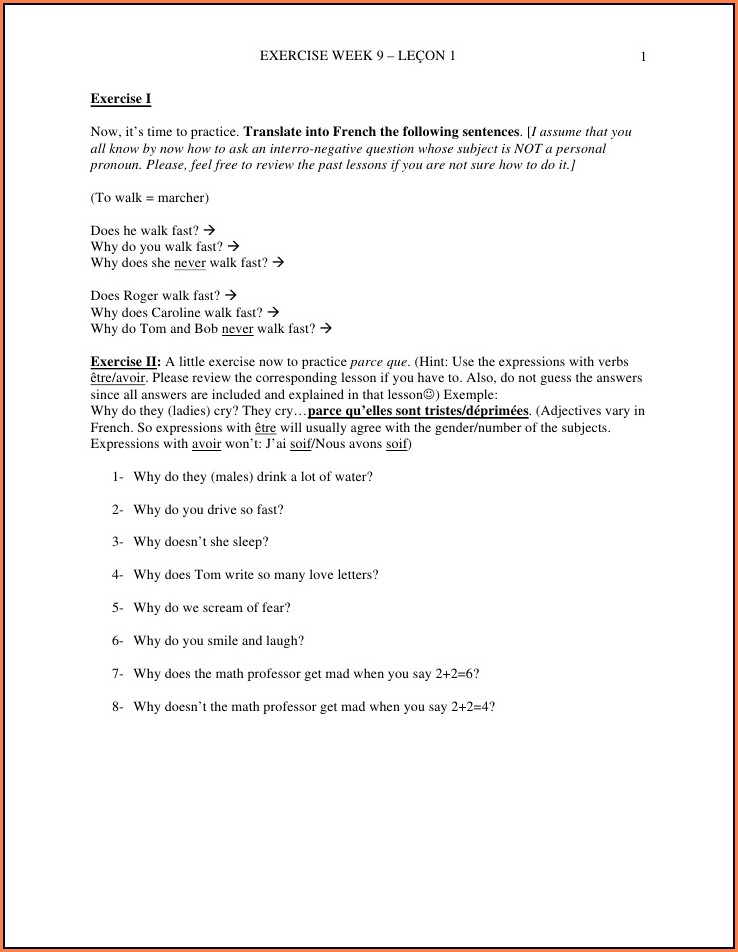 French Worksheets For Grade 5 Cbse