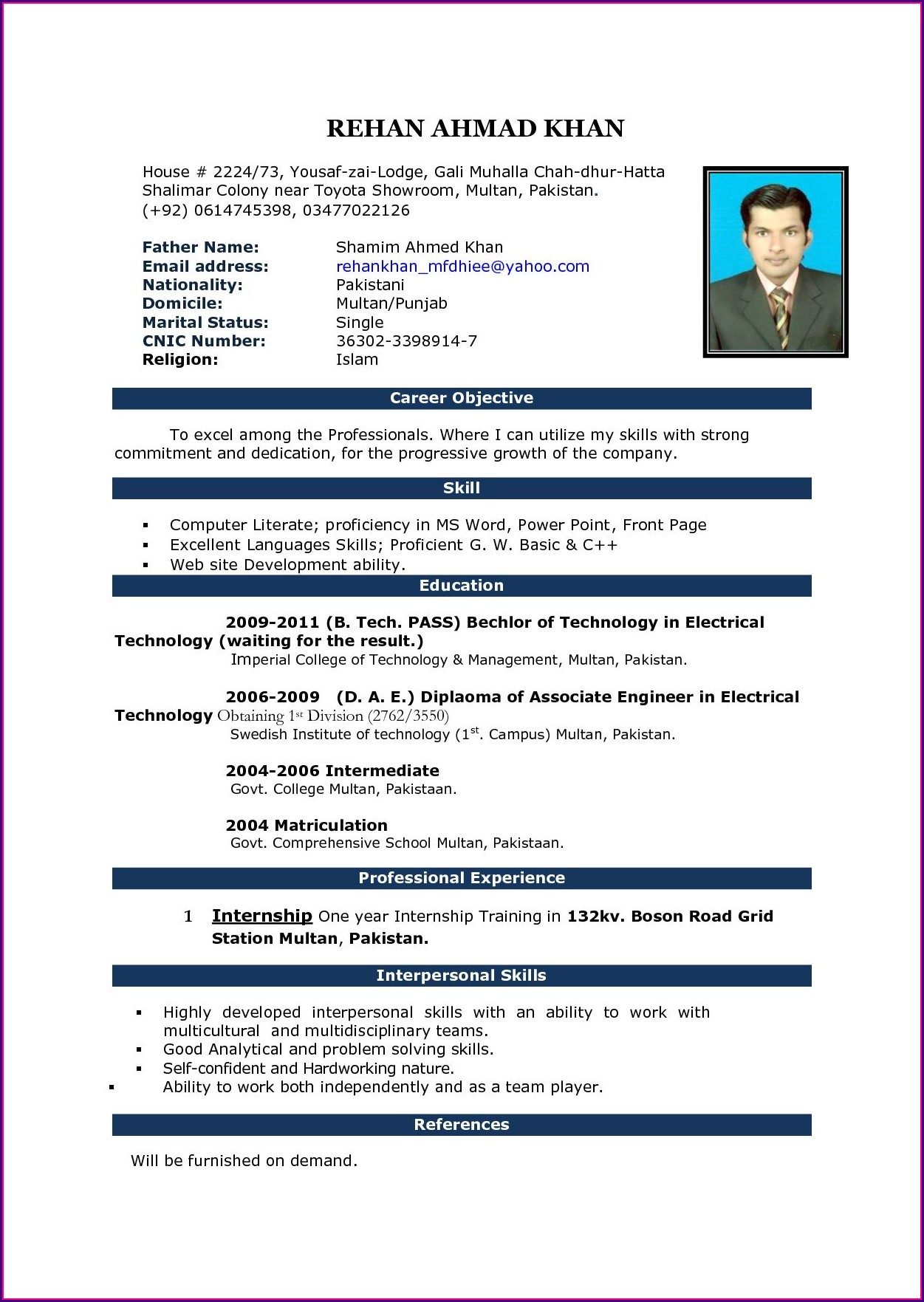 Fresher Resume Format Download In Ms Word India