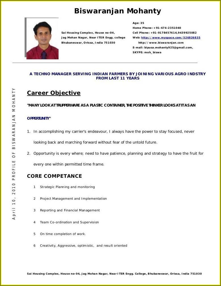 Fresher Resume Format For Lecturer Pdf