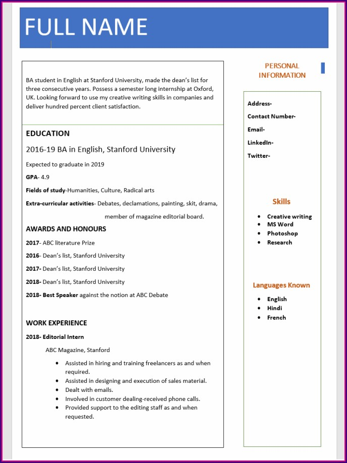 Fresher Resume Format In Word Free Download