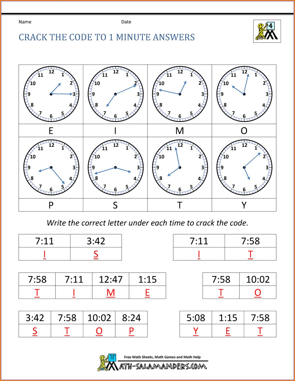 Fun Math Code Worksheets