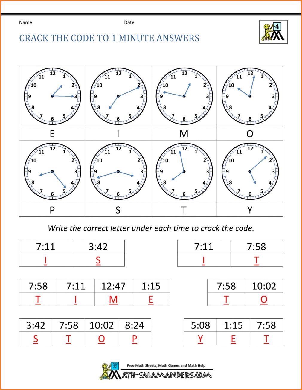 Fun Math Code Worksheets