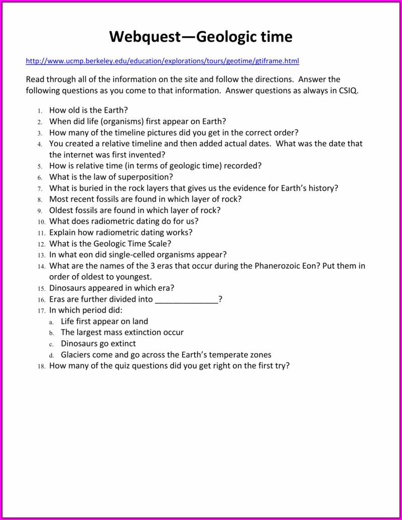 Geologic Time Worksheet Berkeley Answers
