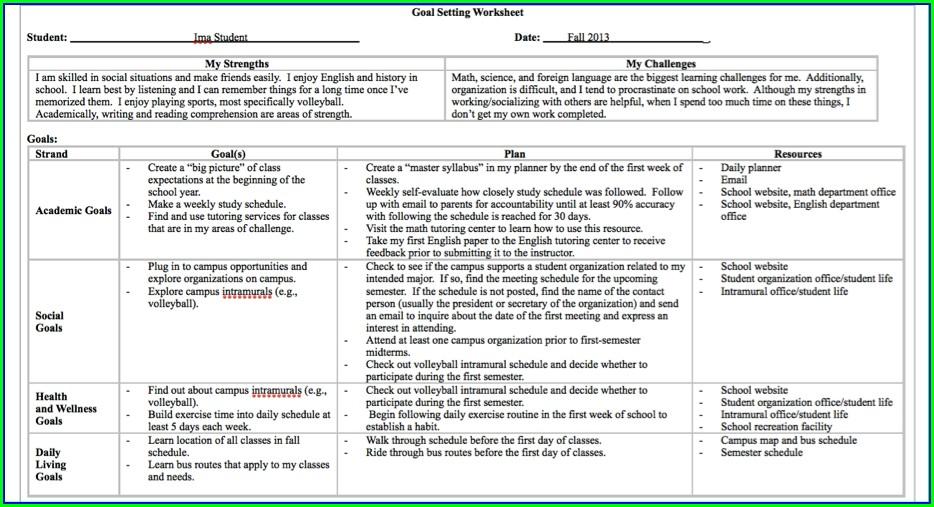 Goal Setting Lesson Plans High School