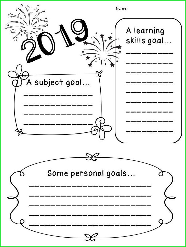 Goal Setting Worksheet For First Grade