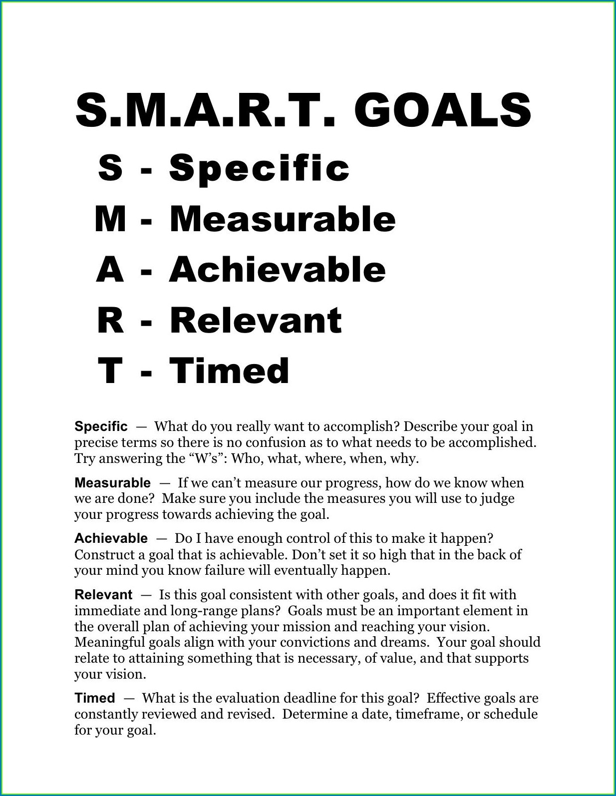 Goal Setting Worksheet For Middle School Pdf