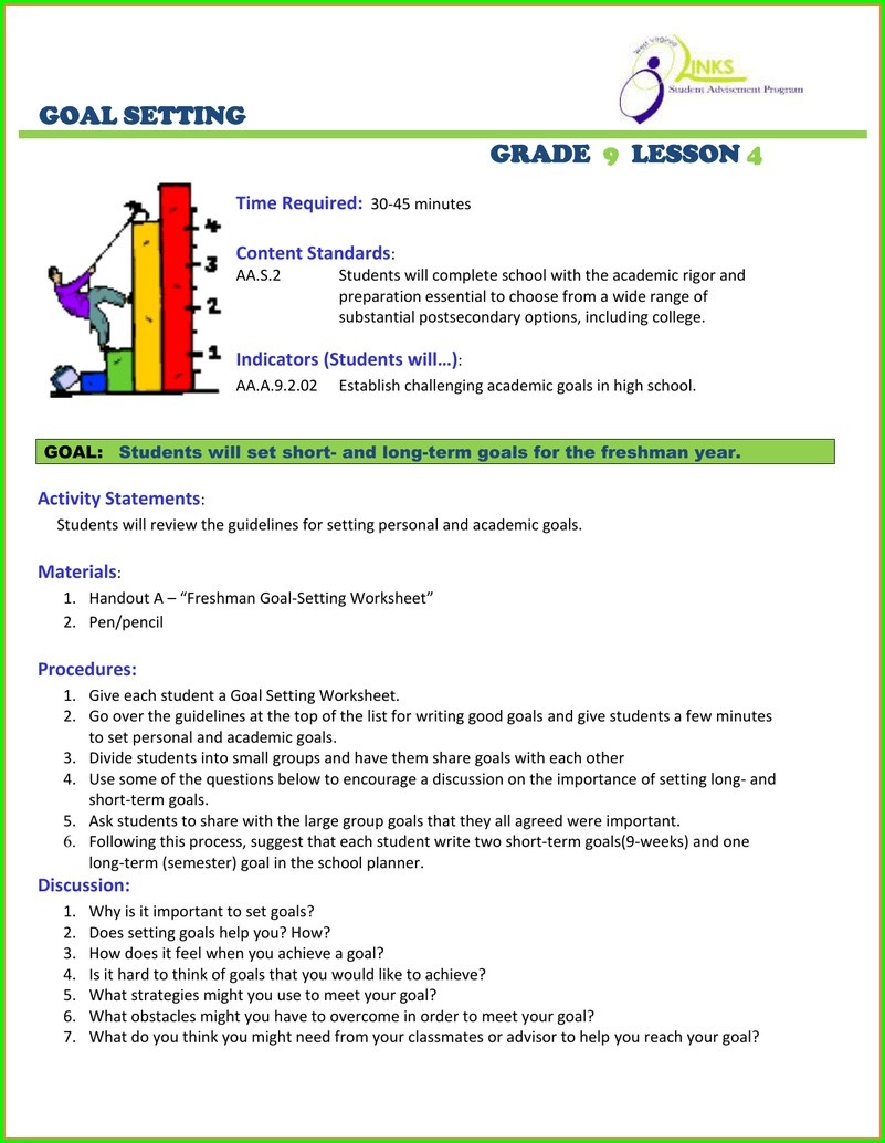 Goal Setting Worksheet For Middle School Students