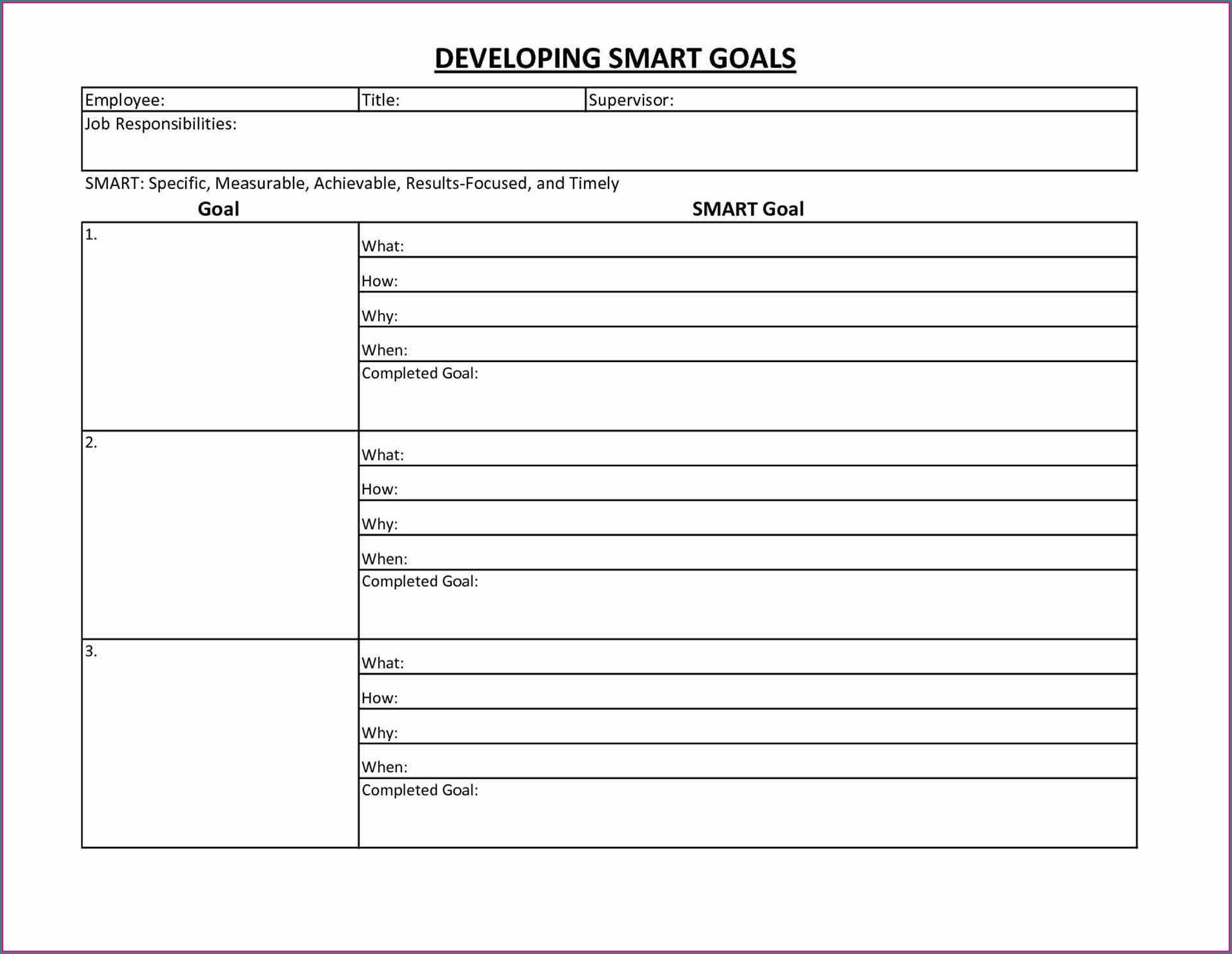 Goal Setting Worksheet For Personal Trainers