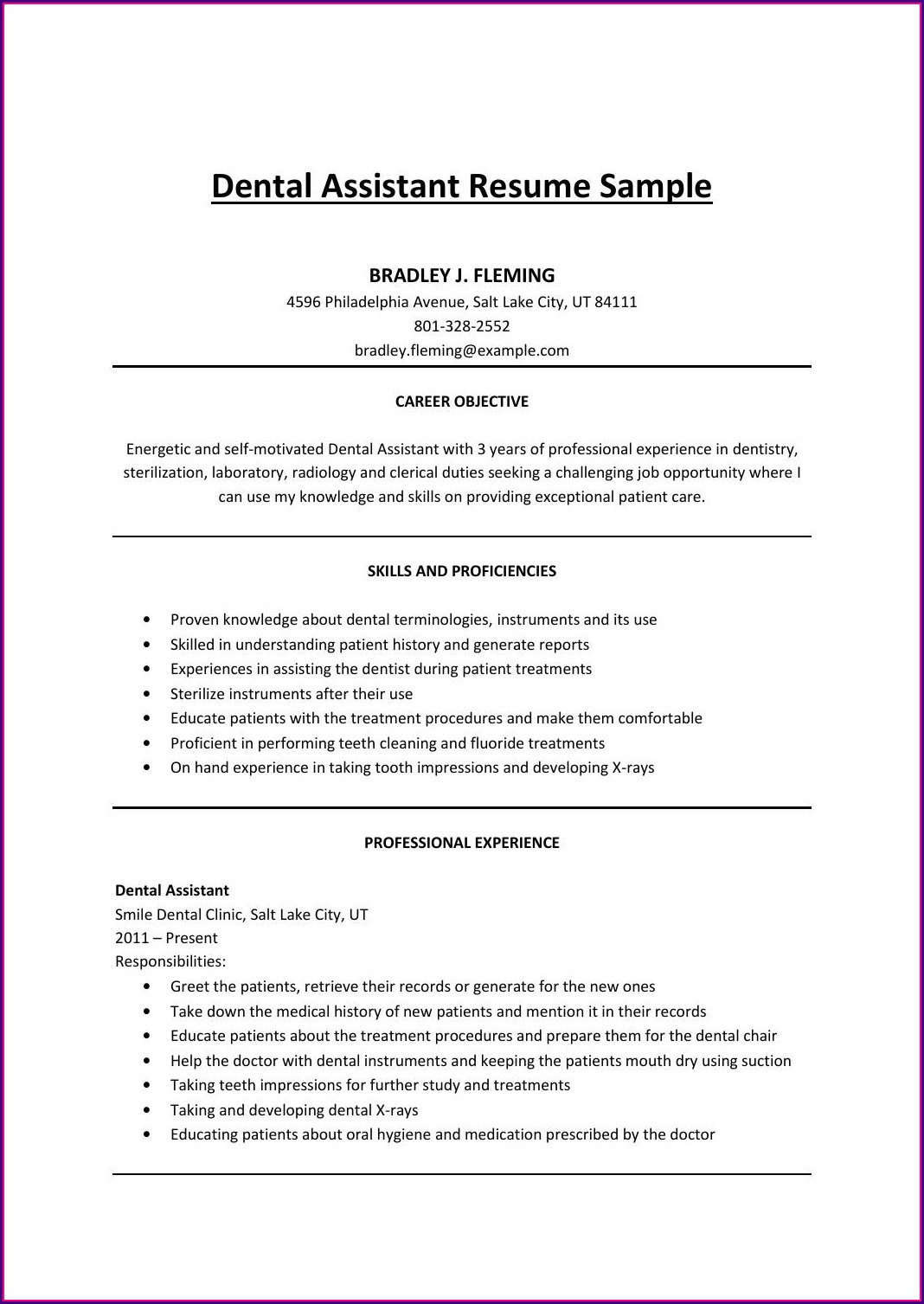 Good Resume For Dental Assistant