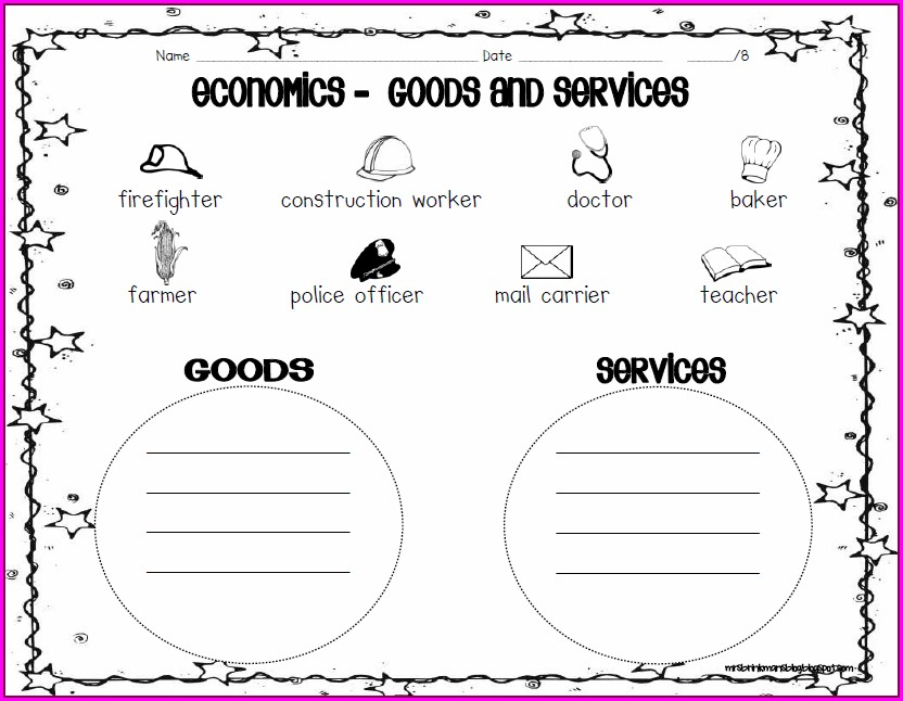 Goods And Services 2nd Grade Worksheet