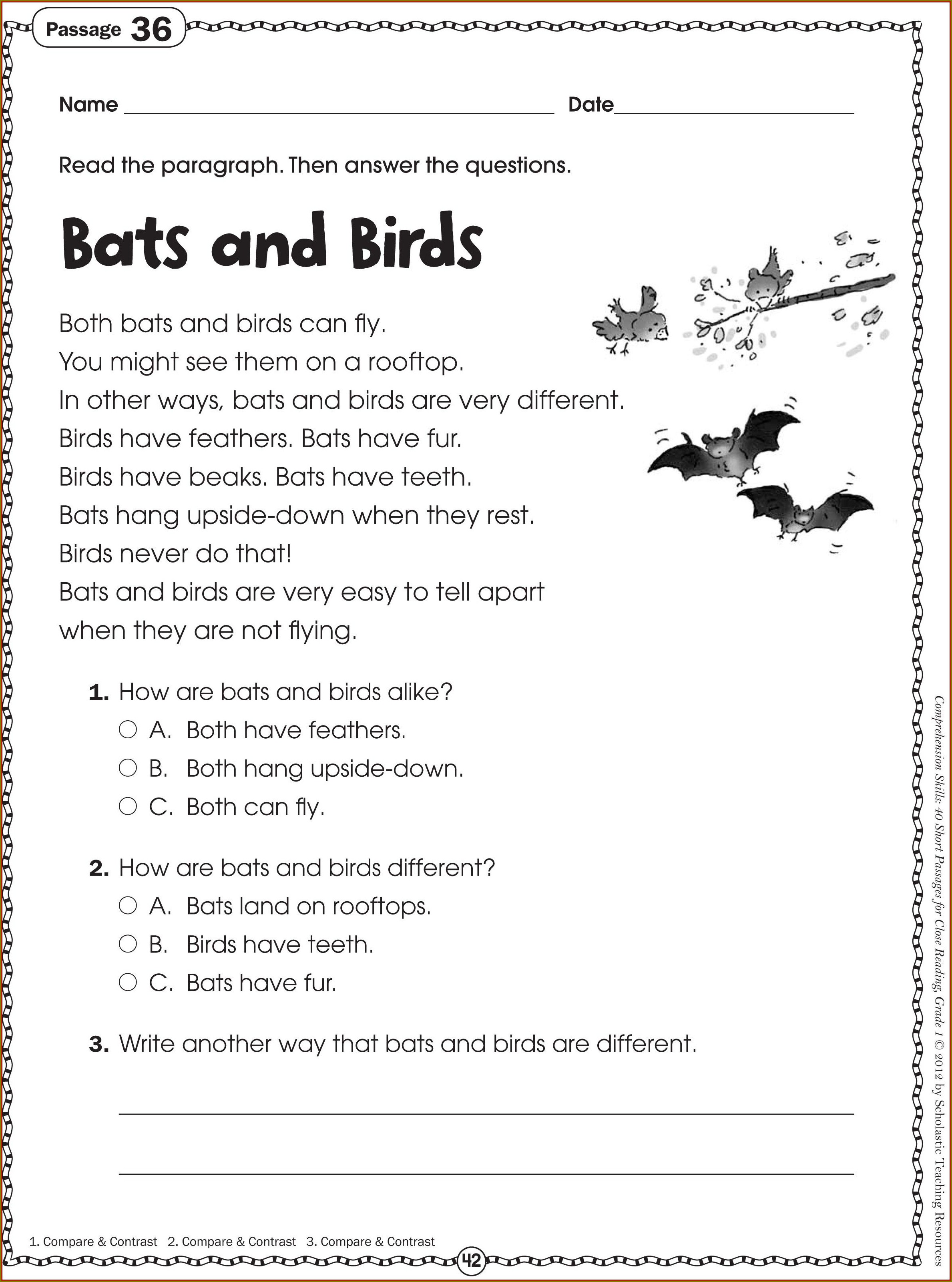 Grade 1 Reading Worksheets