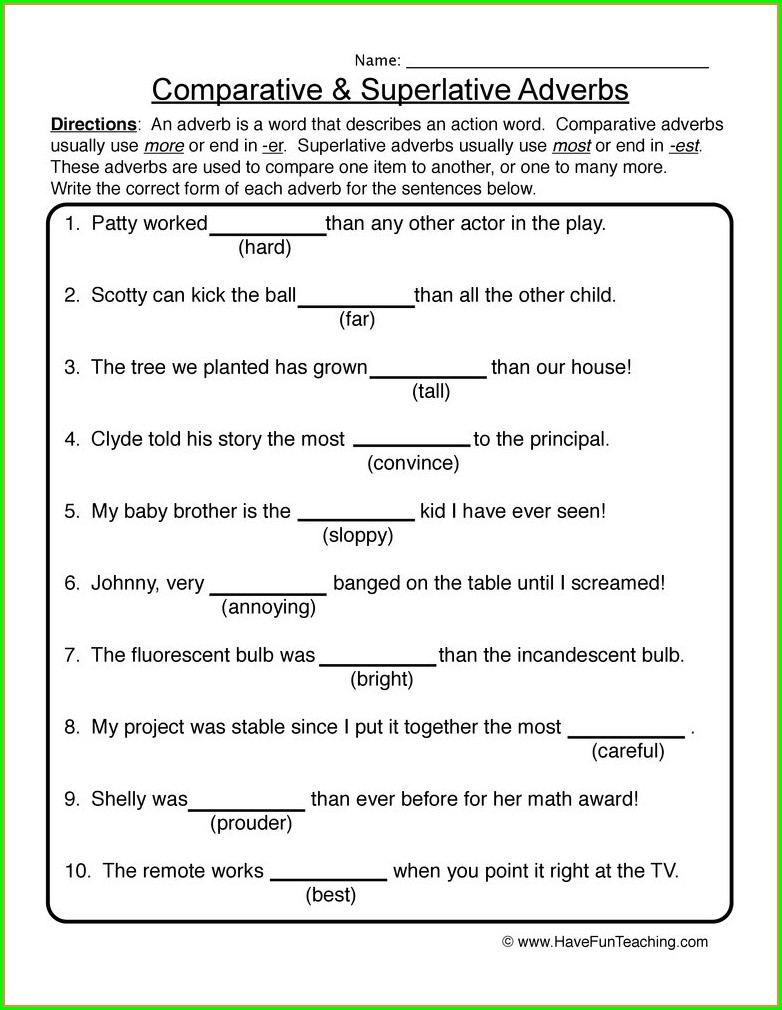 Grade 2 Comparison Of Adverbs Worksheet