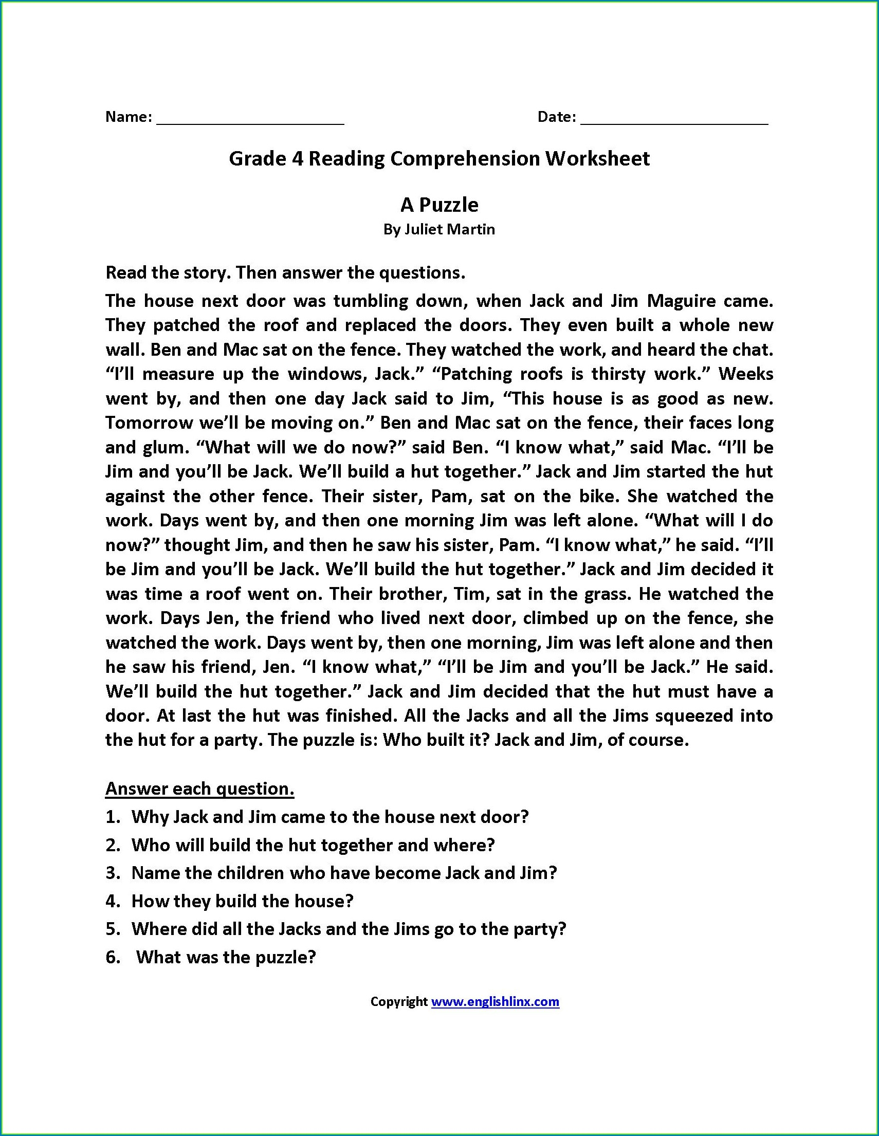 Grade 2 Comprehension Worksheets Pdf