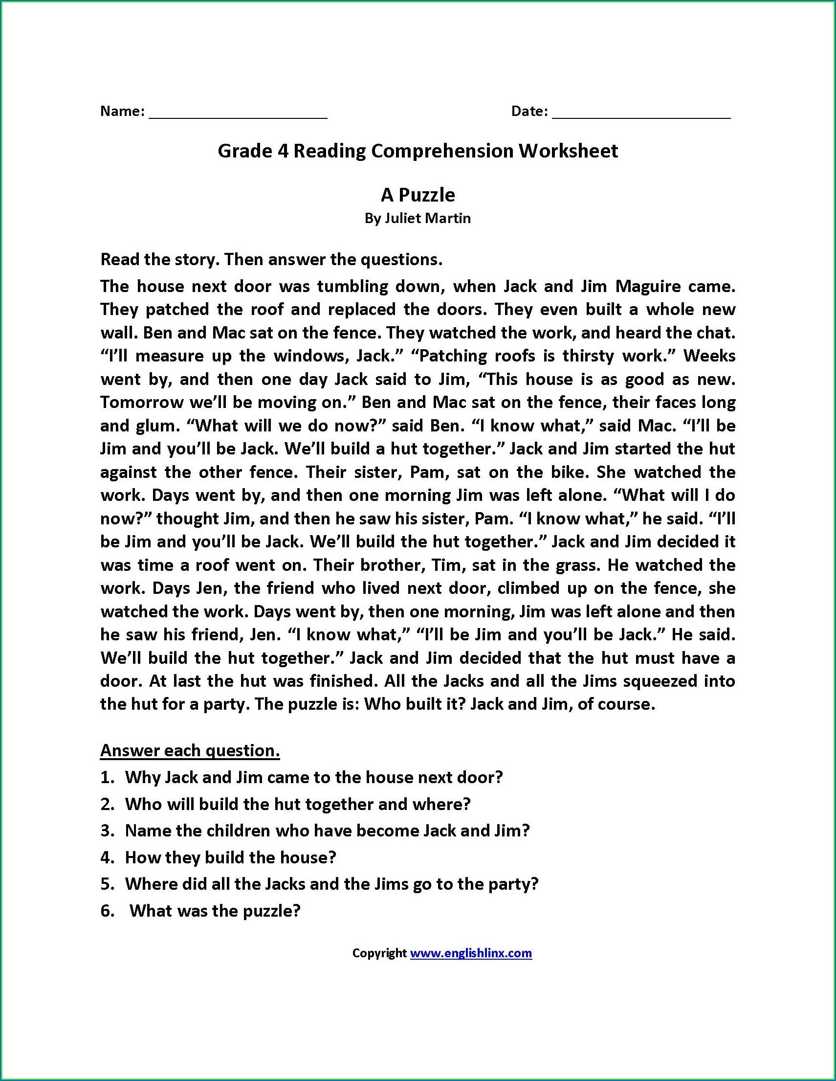 Grade 2 Comprehension Worksheets Pdf