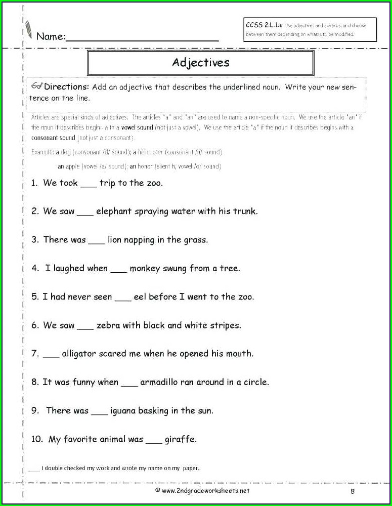 Grade 2 English Grammar Worksheets Pdf