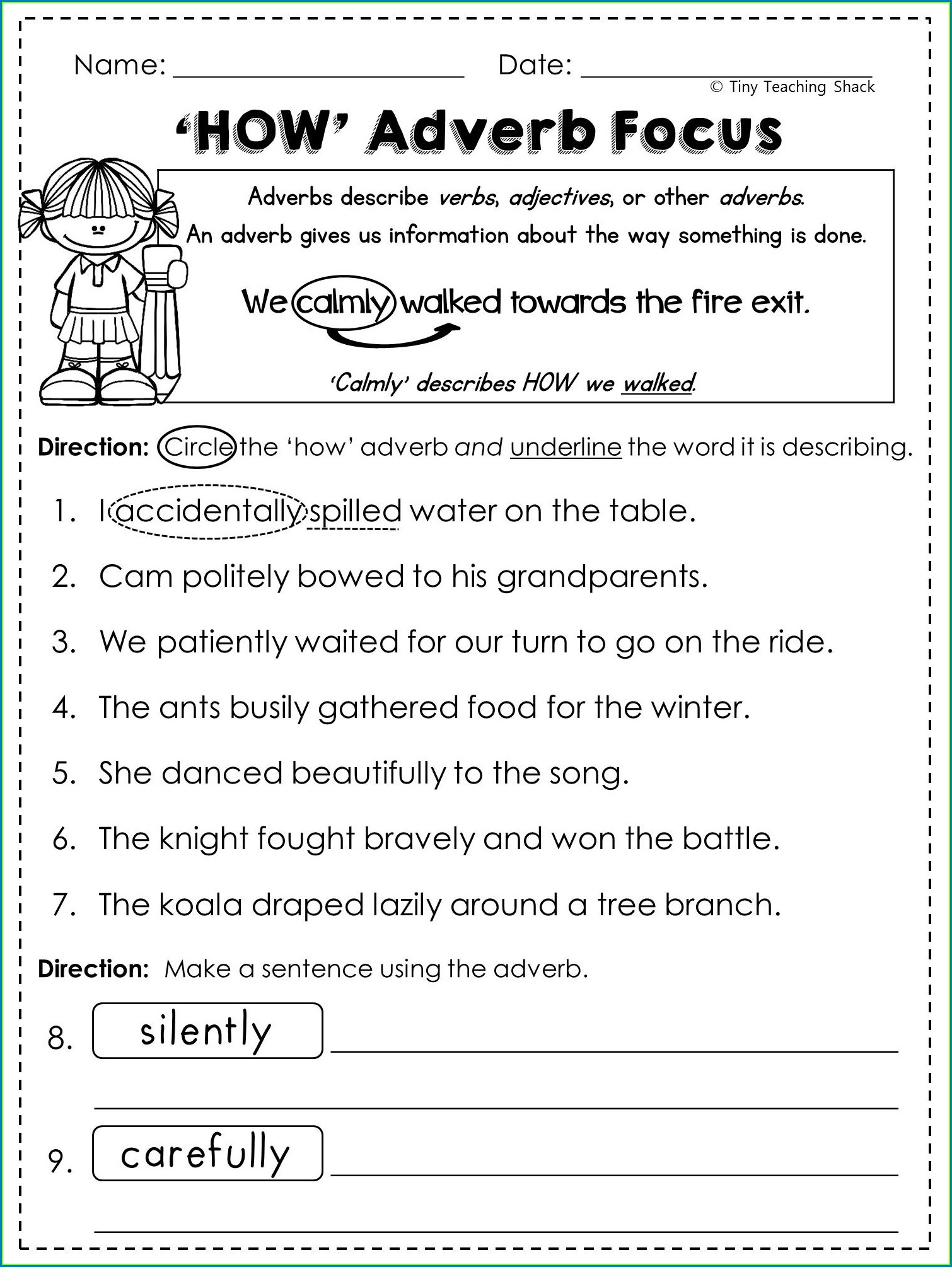 Grade 2 Ly Adverbs Worksheet
