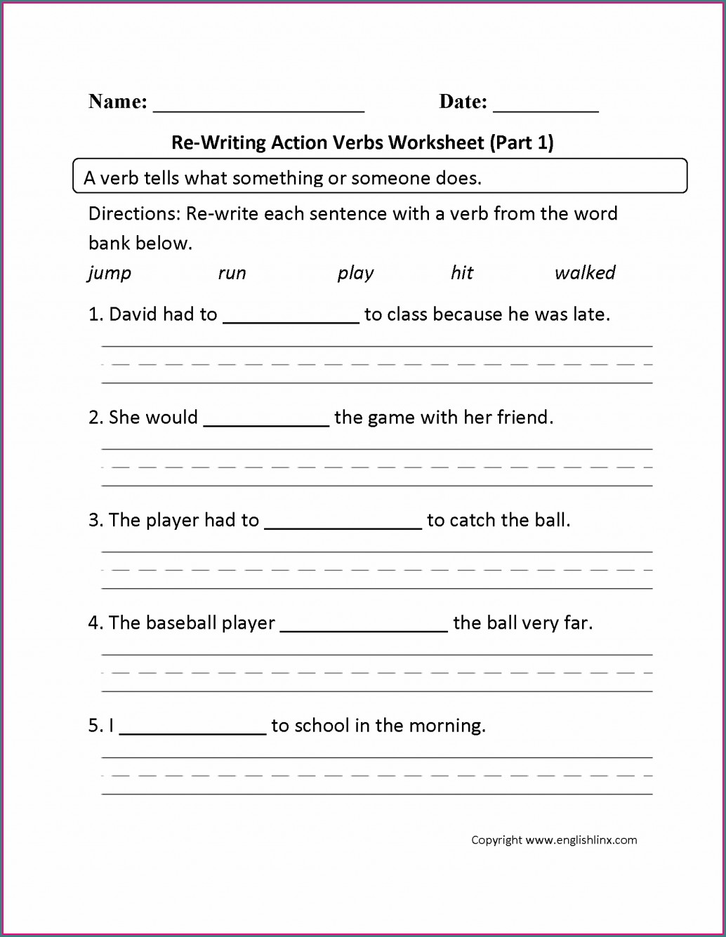 Grade 2 Verbs Worksheet Pdf