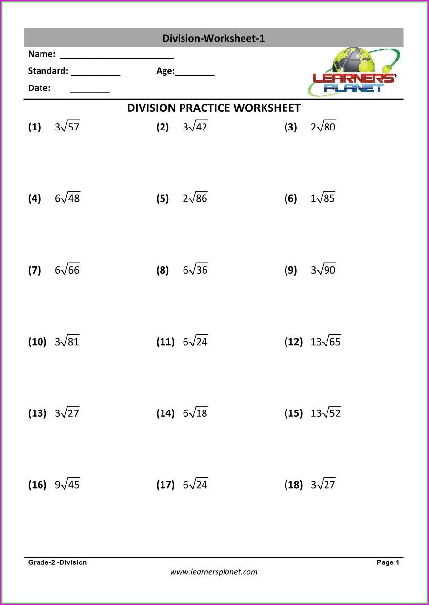 Grade 2 Worksheet Division