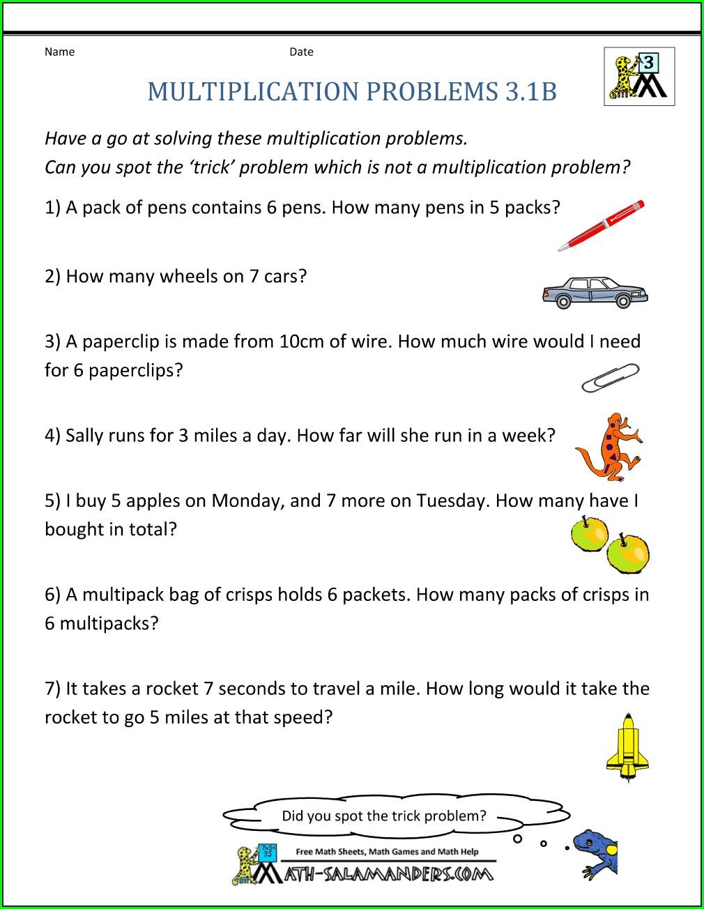 Grade 3 3rd Grade Math Word Problems Worksheets Pdf