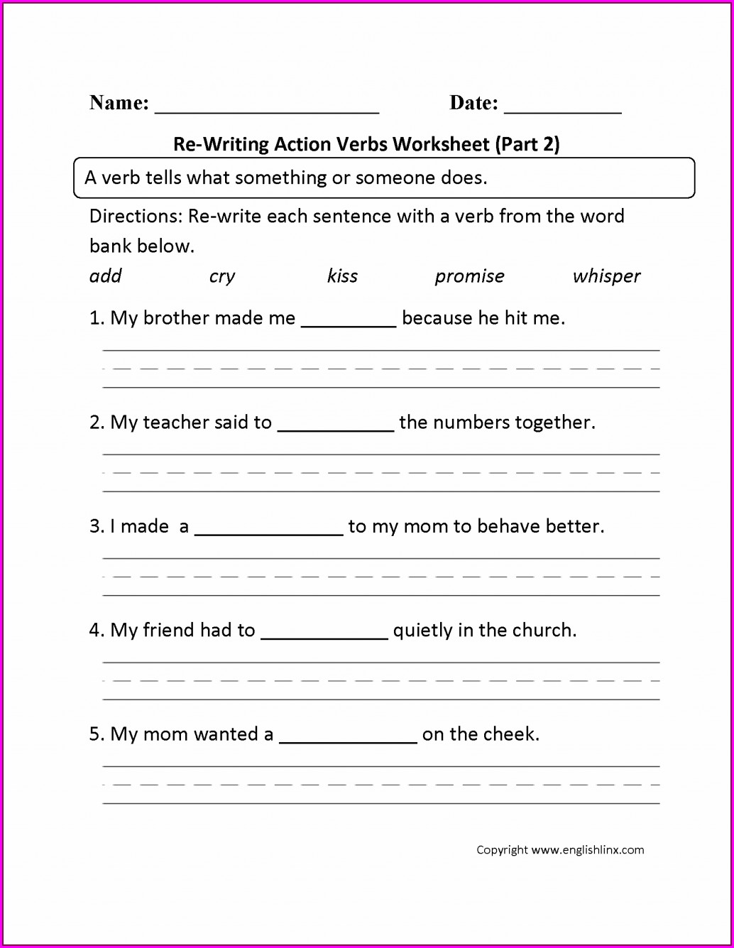 Grade 3 English Worksheets Verbs