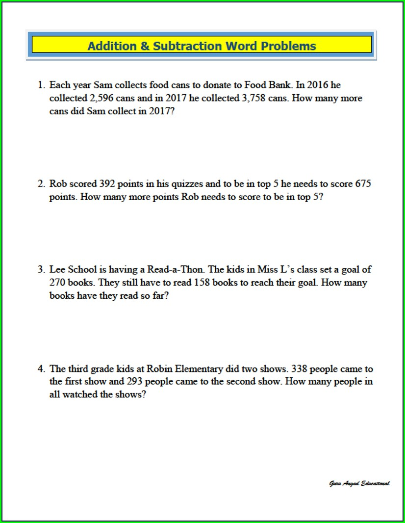 Grade 3 Math Word Problems Worksheets Pdf