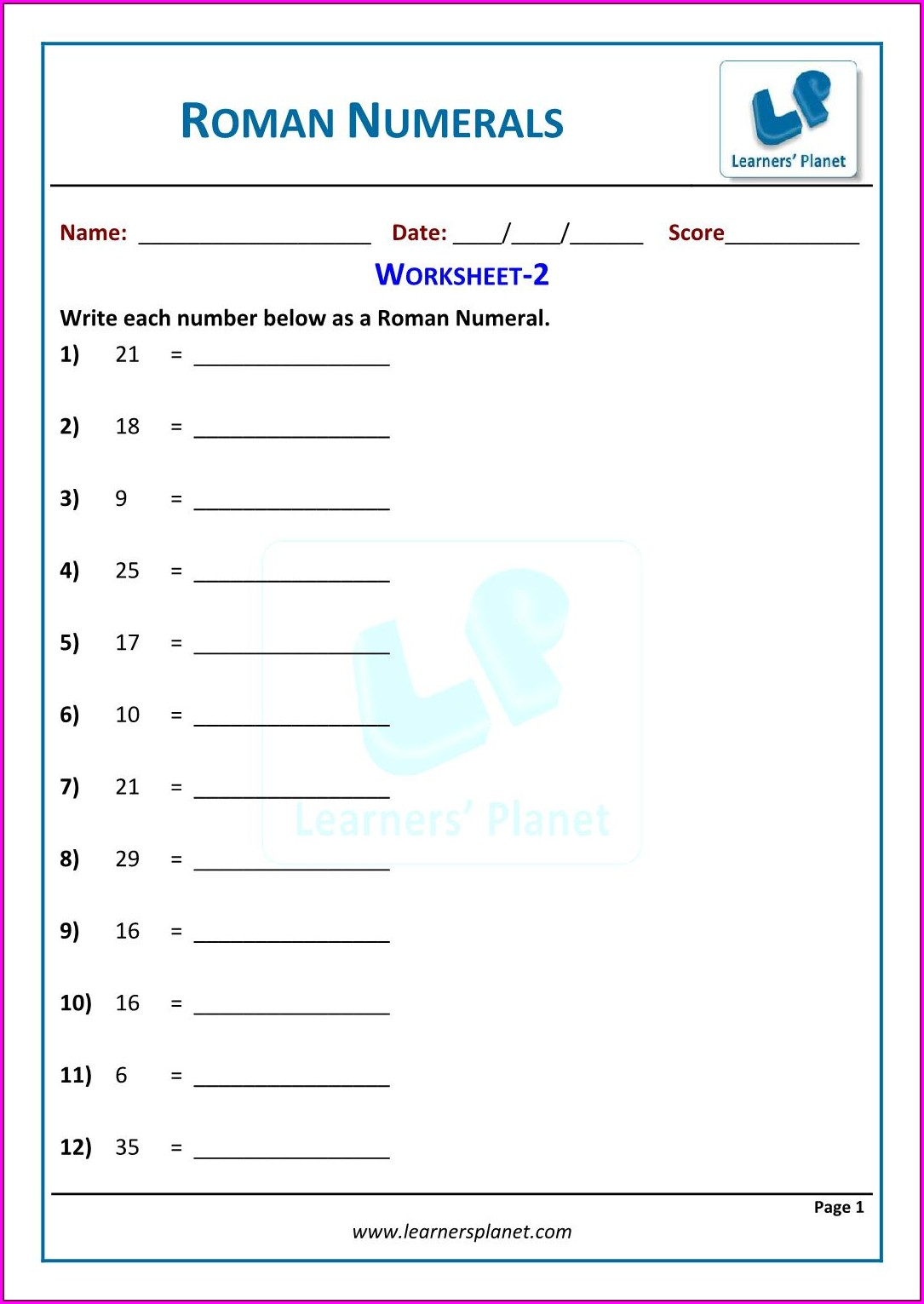 Roman Numerals Worksheet 1 Worksheet Resume Examples