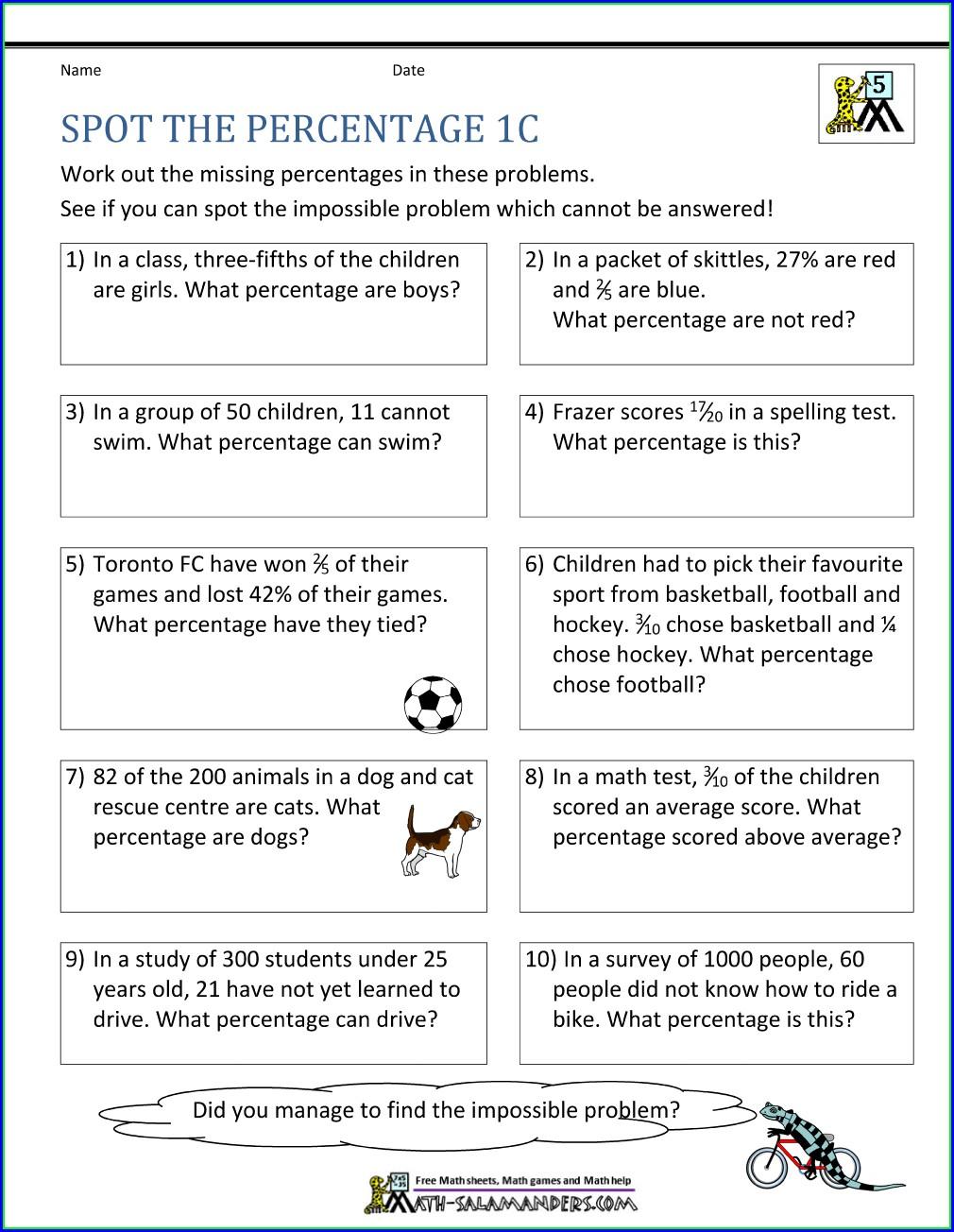 Grade 5 Percentage Word Problems Worksheets