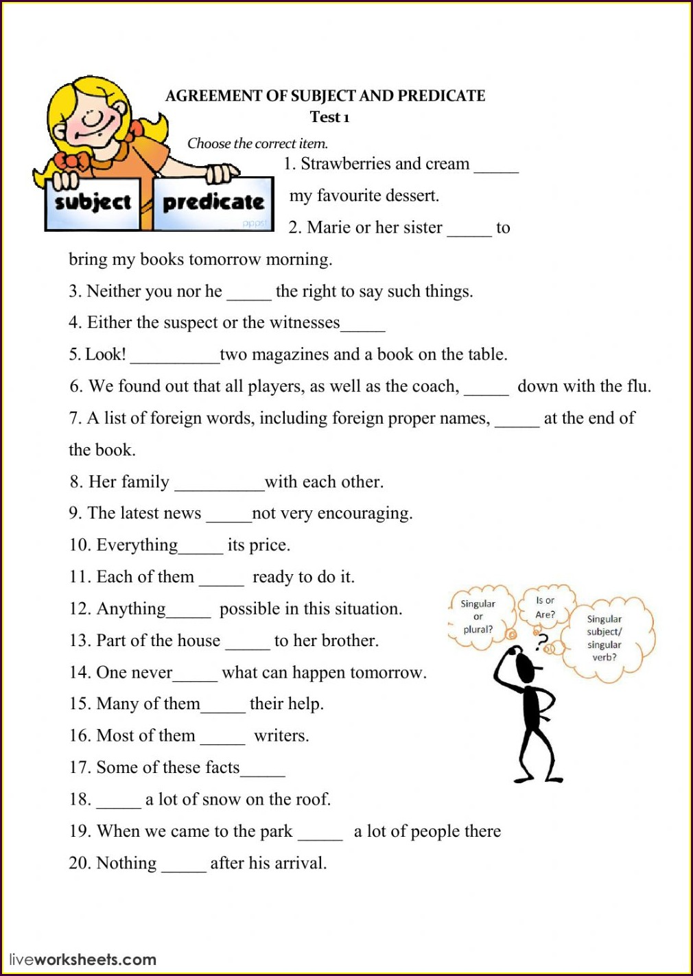Grade 5 Worksheet On Subject Verb Agreement
