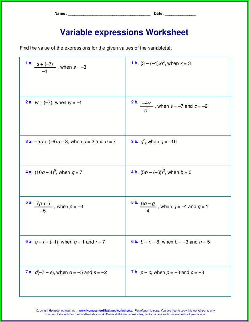 Grade 6 Basic Algebra Worksheet
