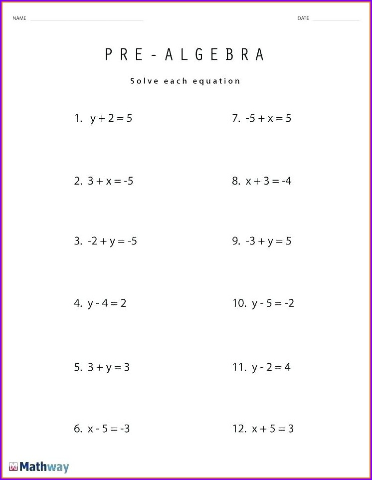 Grade 7 Algebra Worksheets Pdf