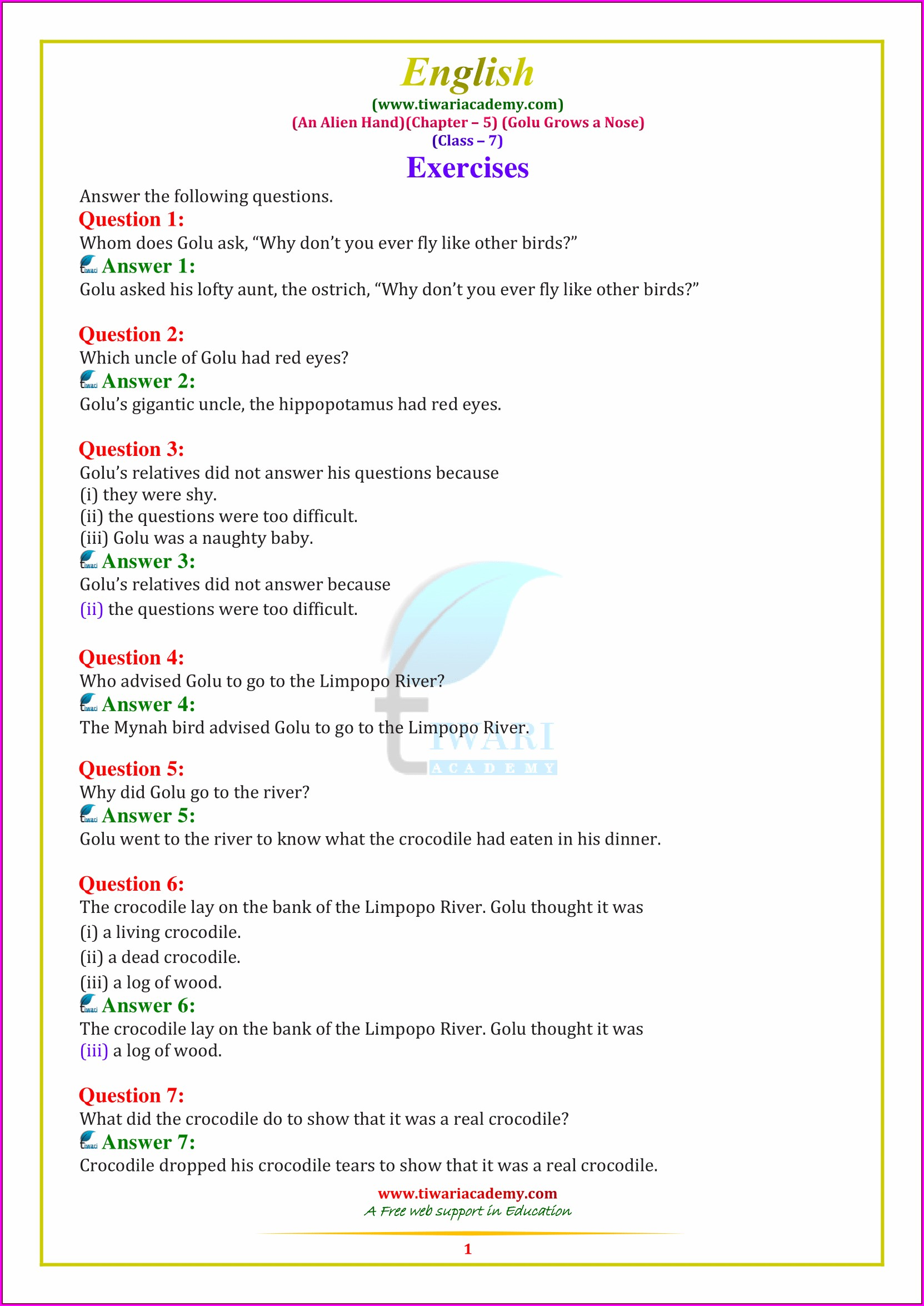 Grade 7 English Grammar Worksheets For Class 7 Cbse With Answers Pdf