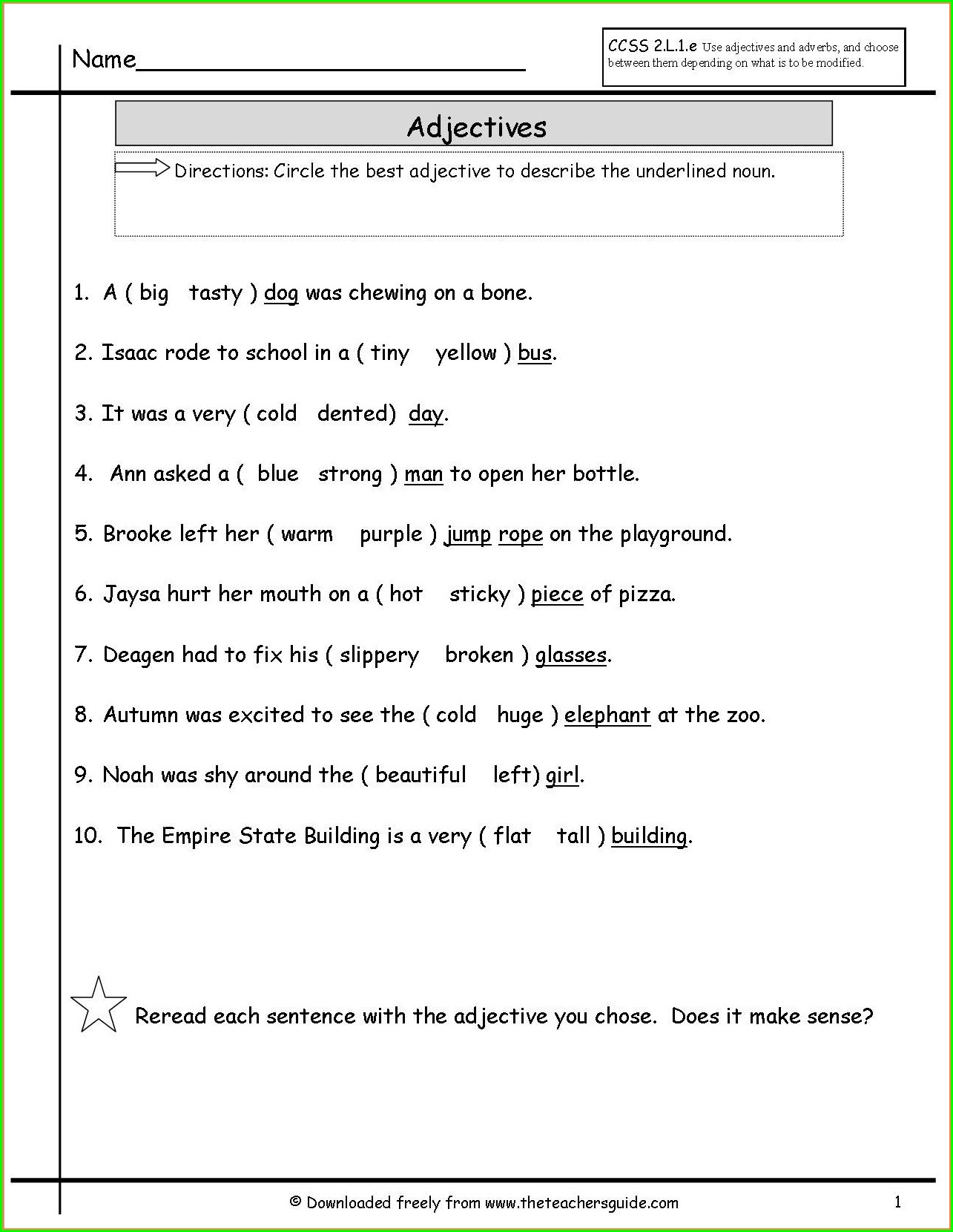 Grade 7 English Language Worksheets Pdf