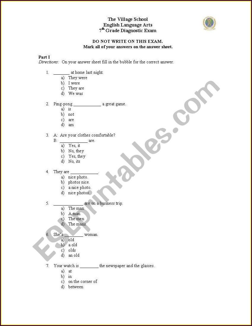 Grade 7 English Worksheets