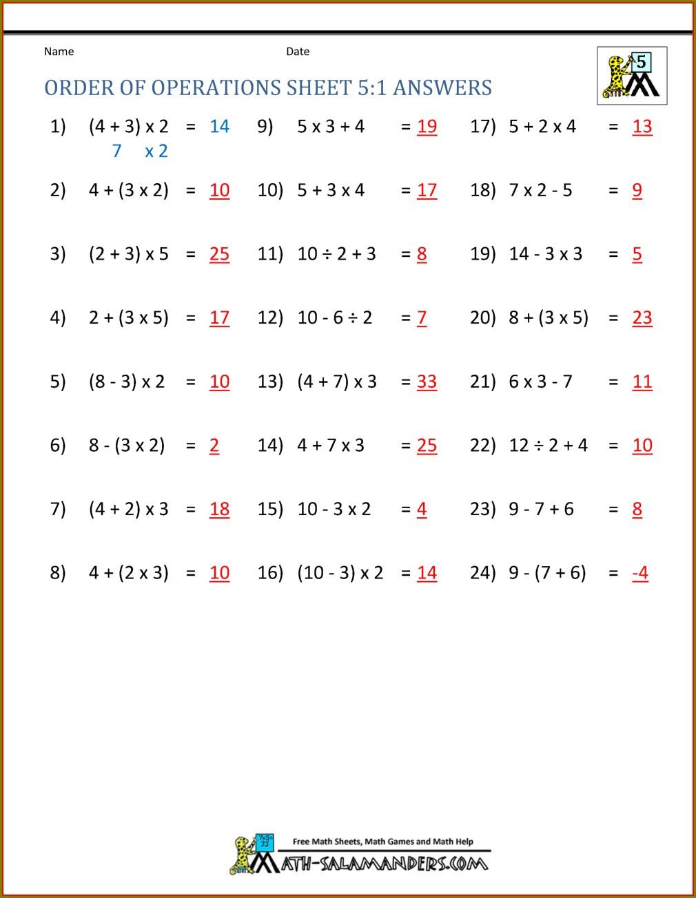 Grade 9 Hard Order Of Operations Worksheet