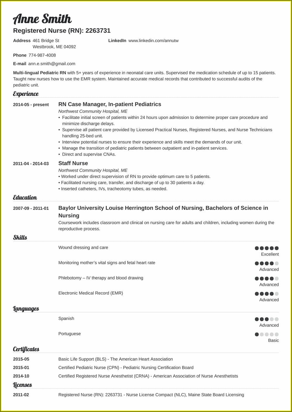 Graduate Registered Nurse Resume Examples
