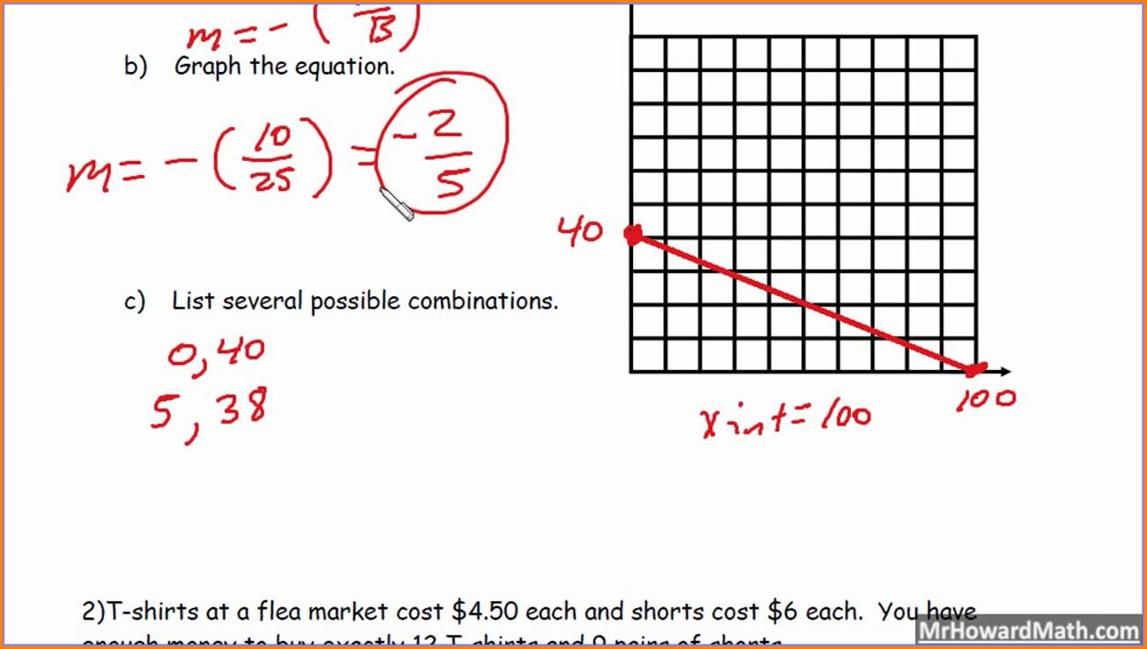Graphing Linear Equations Word Problems Worksheet Answers Pdf