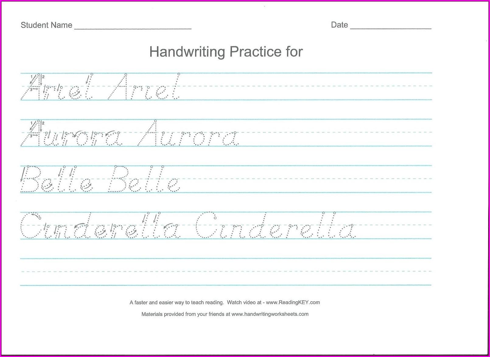 Handwriting Worksheet Generator Preschool
