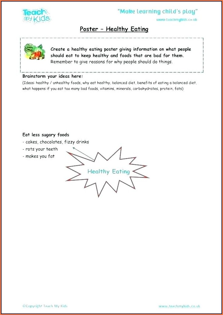 Healthy Food Worksheet For Grade 2